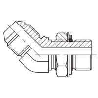 Адаптер кутовий 45 ° регульований зовнішнє різьблення JIC - BSP, J UE-G