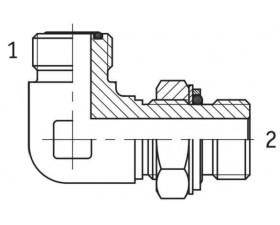 Адаптер кутовий 90° регульований зовнішня різьба ORFS - М (метрична) в корпус