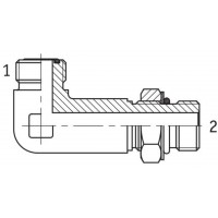 Адаптер кутовий 90° подовжений регульований зовнішня різьба ORFS - SAE O в корпус