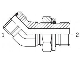 Адаптер кутовий 45° регульований зовнішня різьба ORFS - G BSP в корпус
