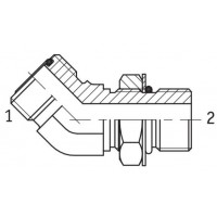 Адаптер кутовий 45° регульований зовнішня різьба ORFS - SAE O в корпус