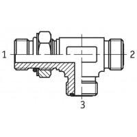 Адаптер трійник регульований зовнішня різьба SAE O в корпус - ORFS - ORFS