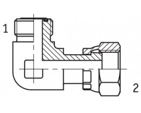Адаптер угловой 90° внутренняя/наружная резьба ORFS - ORFS