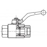 Кульовий кран високого тиску, 2-ходовий, внутрішнє різьблення G (BSP)