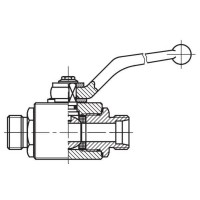 Кульовий кран SKS високого тиску, 2-ходовий, зовнішня різьба CES (Метрична)