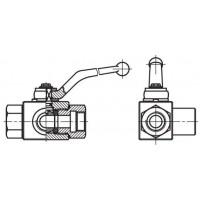 Кульовий кран високого тиску, 3-ходовий з L-свердлінням, внутрішнє різьблення G (BSP)