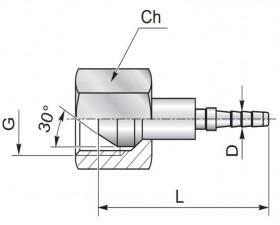 Фітинг для вимірювального рукава, внутрішня різьба G BSP