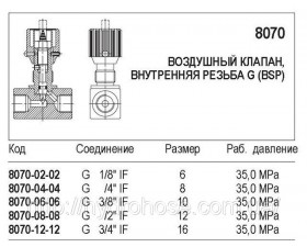 Гидравлический клапан, внутренняя резьба G (BSP), 8070