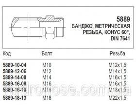 Банджо, метрическая резьба, конус 60°, 5889